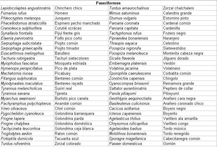 Listado Paseriformes-Febrero 2013